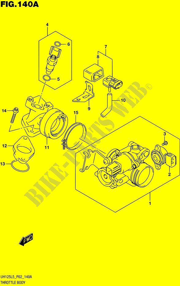 Cale à bas régime CORPS-DE-PAPILLON-Suzuki-SCOOTER-125-BURGMAN-2015-UH125-L5-P19--12482010