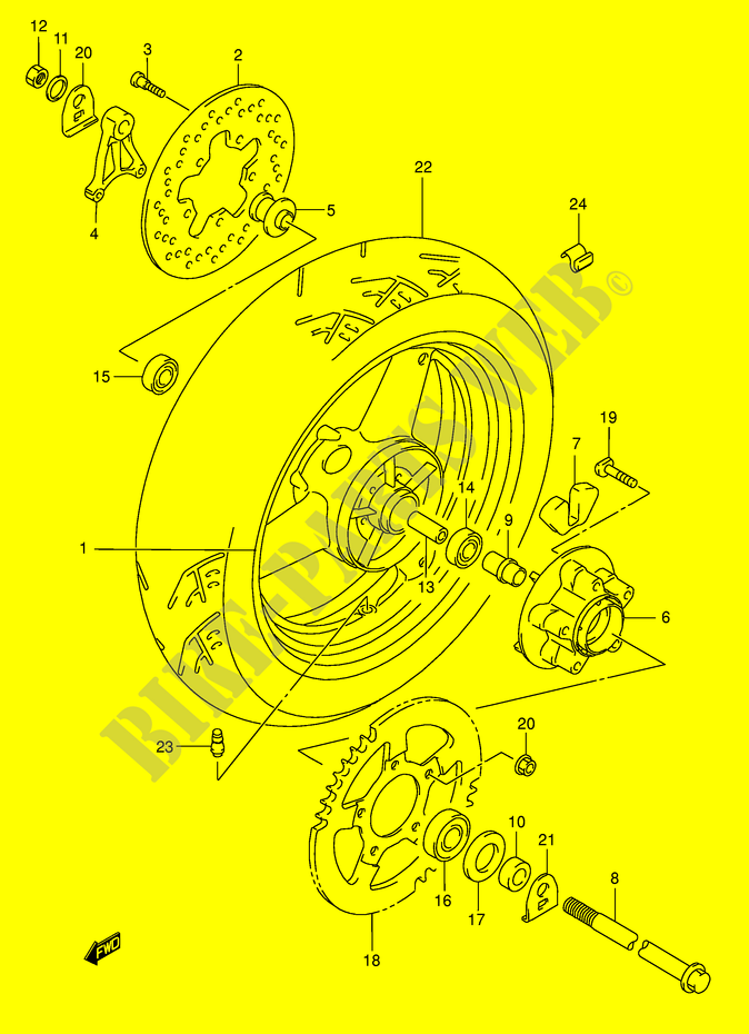 roue arriere suspensions freinage roues gsx750fk6 e2 2006 gsx f 750 moto suzuki moto suzuki. Black Bedroom Furniture Sets. Home Design Ideas
