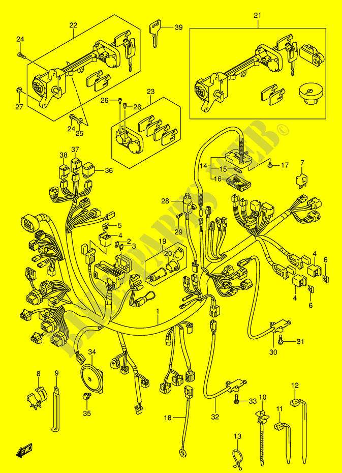 Faisceau Electrique  An650k4  Pour Suzuki Burgman 650 2005