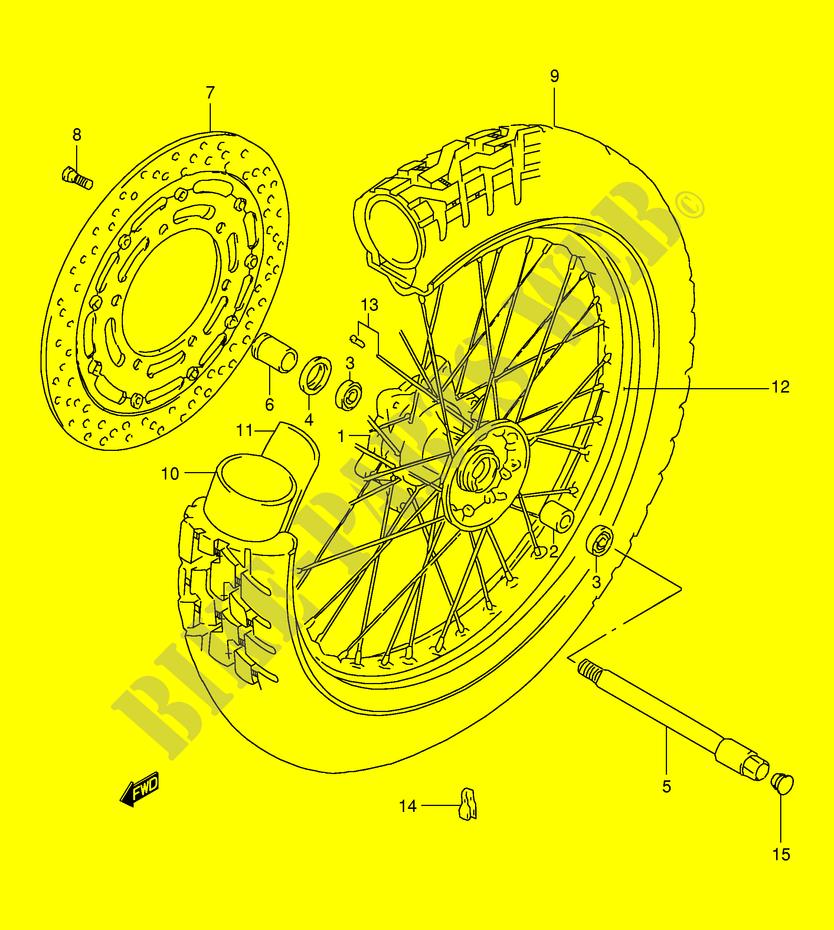 roue avant suspensions freinage roues xf650uw e2 1998 freewind 650 moto suzuki moto suzuki. Black Bedroom Furniture Sets. Home Design Ideas