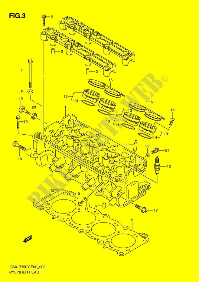 CULASSE pour Suzuki GSX-R 750 2002 # SUZUKI MOTO - Catalogue