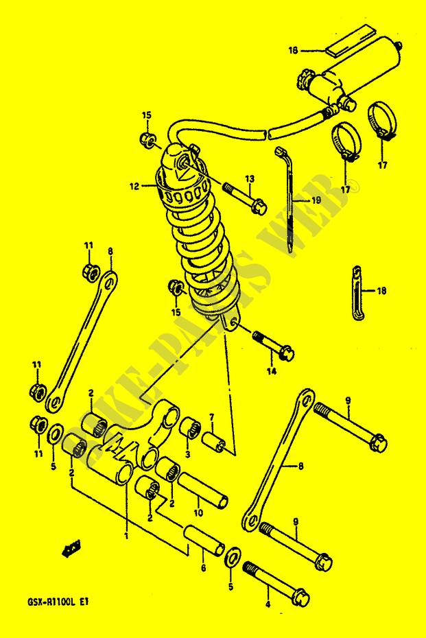 biellette de suspension arriere modele l suspensions freinage roues gsx r1100l k l 1990 gsx r. Black Bedroom Furniture Sets. Home Design Ideas