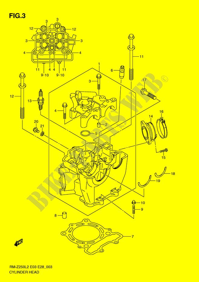 culasse rm z250l2 e03 l2 2012 rm z250l2 e03 rmz 250 suzuki suzuki moto catalogue de. Black Bedroom Furniture Sets. Home Design Ideas