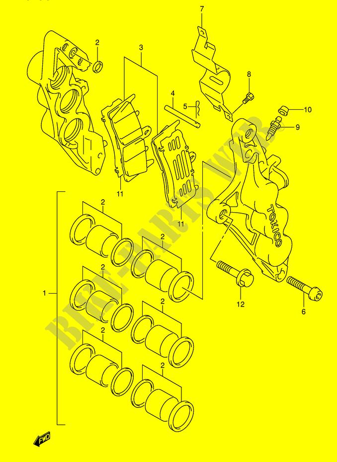 Tokico 6 pistons d'Hayab VS Nissin 4 pistons de BK ETRIER-DE-FREIN-AVANT-MODELE-K3-Suzuki-MOTO-1300-HAYABUSA-1999-GSX1300RU1X-E2--DP014653