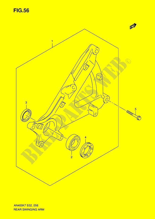 bras oscillant arriere suspensions freinage roues an400 k7 e02e19e24e54 2007 burgman 400 scooter. Black Bedroom Furniture Sets. Home Design Ideas
