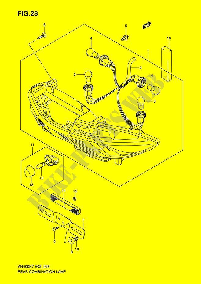 ensemble feu arriere pour suzuki de 2007 suzuki moto catalogue de pi ces d tach es d 39 origine. Black Bedroom Furniture Sets. Home Design Ideas