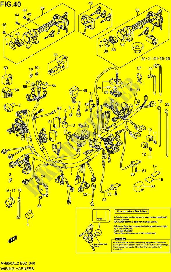 Faisceau Electrique  An650al2 E02  Pour Suzuki Burgman 650